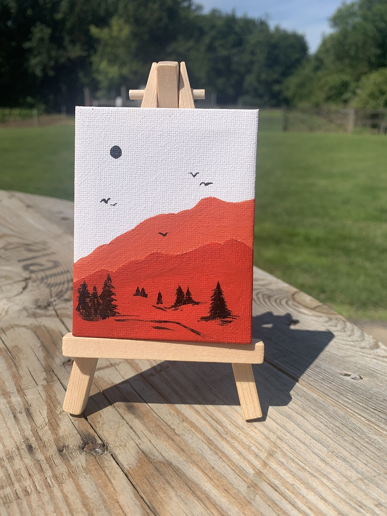 Tiny canvas of a Mountain scene