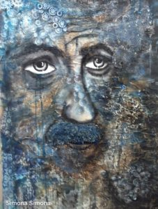 A melancholy face in blue mixed media