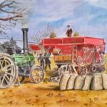 painting of a vintage country scene steam engine and farming machinery